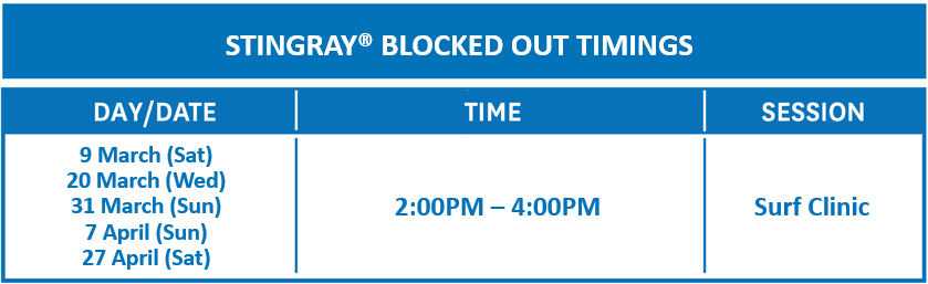 Stingray Blocked Out Timings